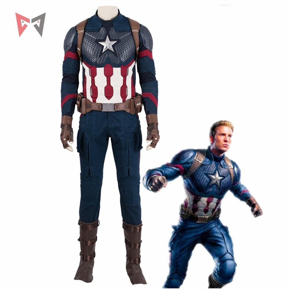 Avengers 4 Endgame Captain America Cosplay Costume Steven Roger Outfit Halloween Carneval Party Mask Vest Full Set Custom Made