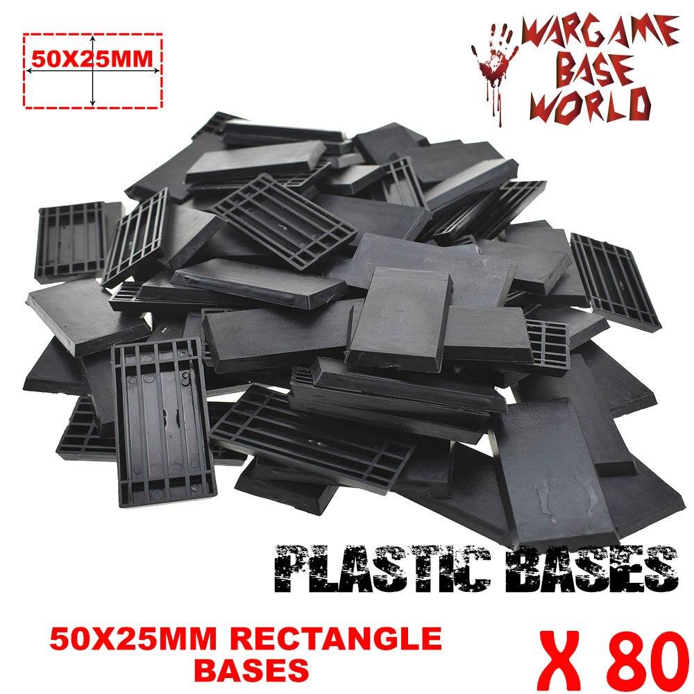 80 50x25mm Rectangular Bases Good Quality Plastic Bases