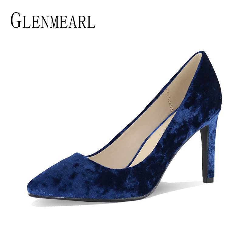 Marka yüksek topuklu elbise ayakkabı kadın pompaları bahar kadife sivri burun ince topuklar kadın kraliyet mavi düğün ayakkabı pompalar büyük boyutu yapmak