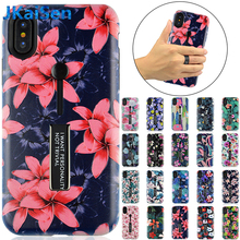 3D Plant Flower Leaves Phone Case Cover for iPhone 7 6 X XR XS Max Hard PC Bracket Ring Fundas Capa For 6s 8 Plus