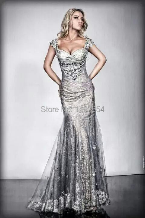 Luxury Sequin Silver Mermaid Evening Dress V Neck Short Sleeves ...