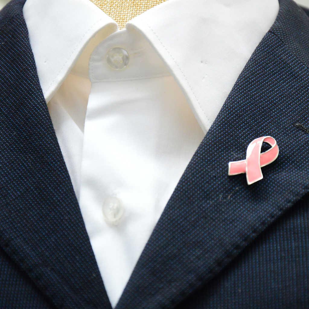 Pink Enamel Kesadaran Kanker Payudara Amal Pita Bros Perak Tepi