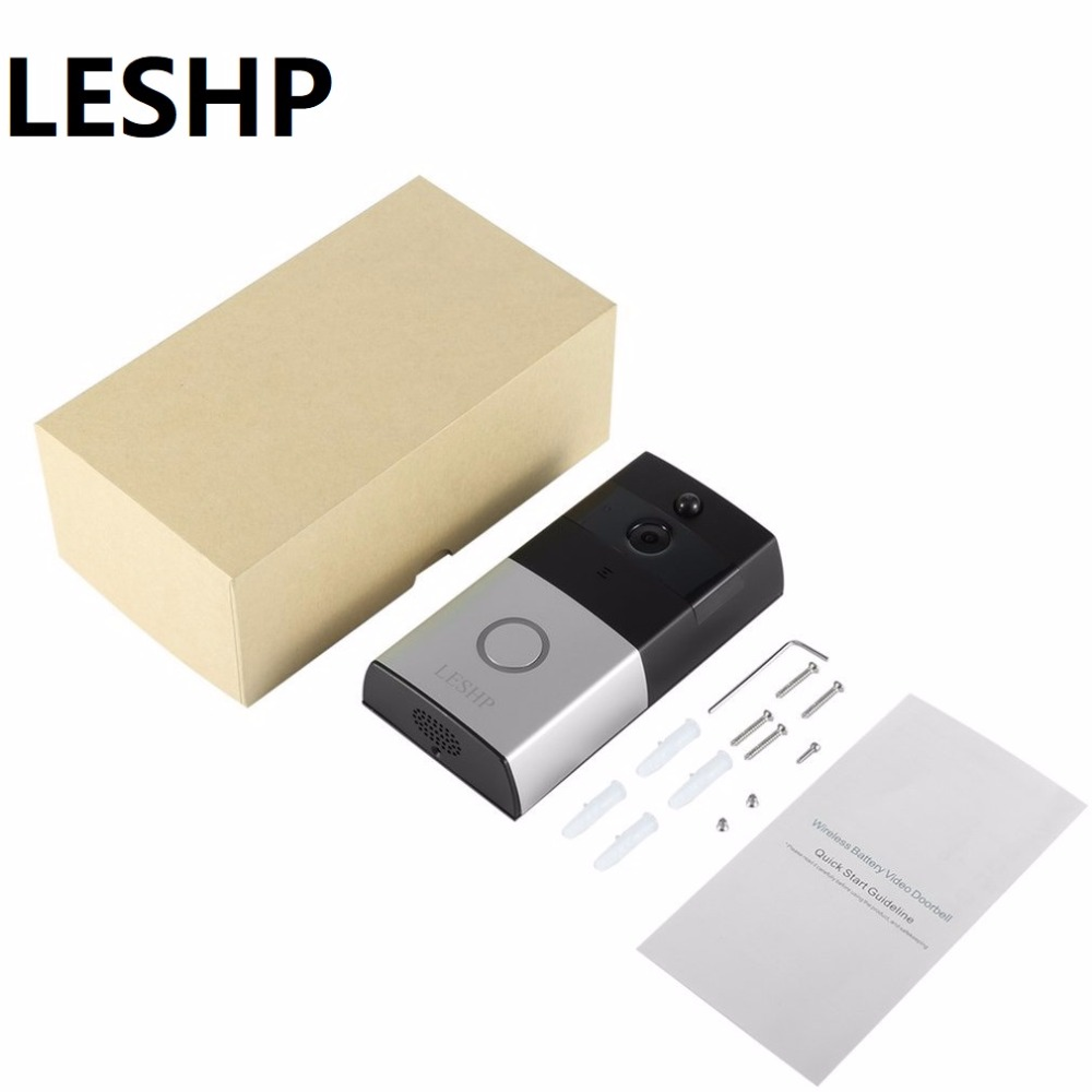 LESHP 1080P Wireless WiFi Battery Ring Video Doorbell HD 2.4G Phone Remote PIR Motion Two-way Talk Home Alarm Security DoorbellLESHP 1080P Wireless WiFi Battery Ring Video Doorbell HD 2.4G Phone Remote PIR Motion Two-way Talk Home Alarm Security Doorbell