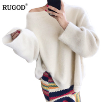 RUGOD 2018 Autumn and winter New White and Pink Oversize Loose Slash Neck Hight Street style women sweater Pullovers korean