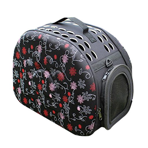 Wholesale10pcs*Folding pet carrier dog cat travel bag foldable bag strap handbag  heart-shaped graphic pattern bag pet carrier bag tote for cat dog small size red