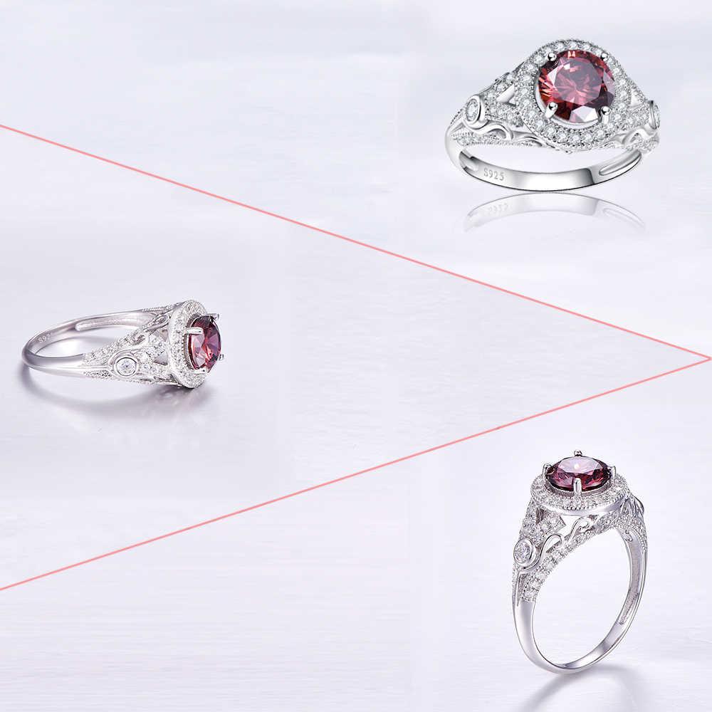 เครื่องประดับหมั้นงานแต่งงานแข็งเงินแท้925 Spessartineโกเมนแหวน2.75กะรัตรอบทรงเสน่ห์แฟชั่นสำหรับผู้หญิง