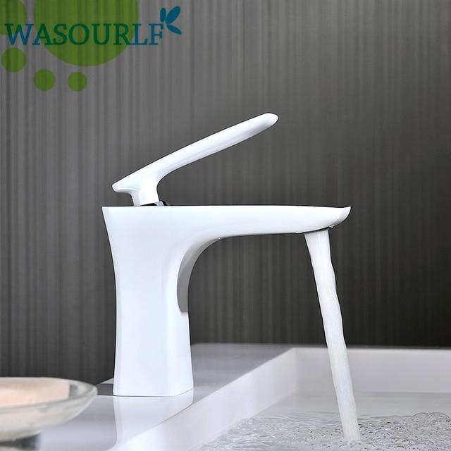 WASOURLF Basin mixer tap water faucet spout single hole brass white mirror chrome water saving watermark Australia Europe