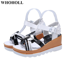 New Women Sandals Summer Shoes with Platform Open Toe High Heel Sandals with Ankle Strap Decor Stylish Female Outdoor Sandals stylish women s sandals with flowers and black colour design