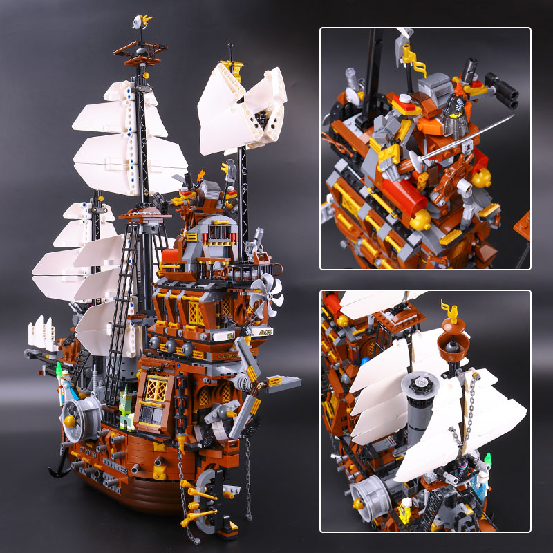 LEPIN 16002 22001 16042 Pirate Ship Metal Beard's Sea Cow Model Building Kits Blocks Bricks Toys Compatible With 70810 in stock new lepin 22001 pirate ship imperial warships model building kits block briks toys gift 1717pcs compatible10210