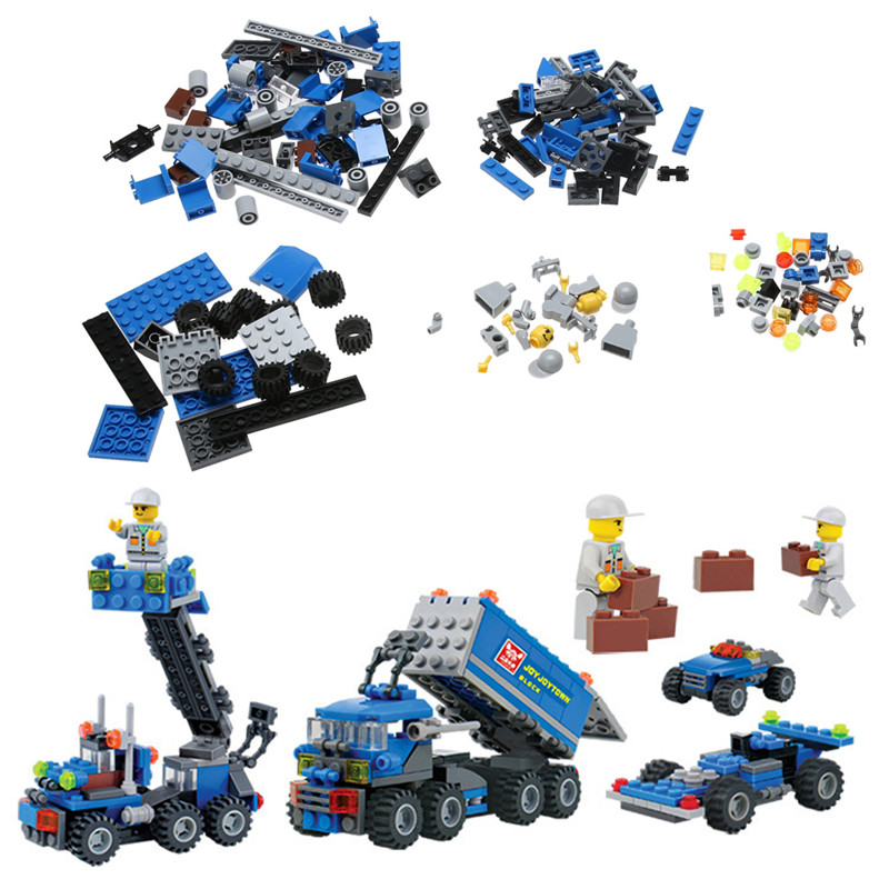 163pcs/set  Kids Bricks Birthday Gifts Enlighten Child Educational Toys Dumper Truck DIY Toys Building Blocks Set kids educational toys 102pcs set sweeper model assembly building blocks kit enlighten puzzle toy children birthday gifts