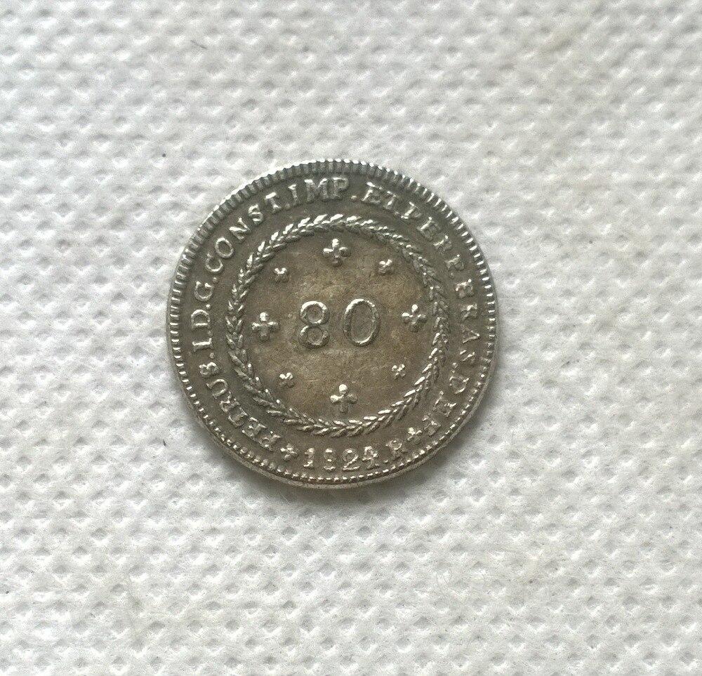 1824 Бразилия 80 Reis МОНЕТА КОПИЯ БЕСПЛАТНАЯ ДОСТАВКА