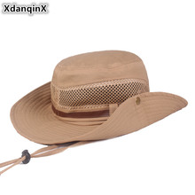 XdanqinX 2019 New Mens Beach Hat Anti-UV Bucket Hats Big Visor Breathable Mesh Caps Wind Rope Fixed Sun Protection Cap For Men