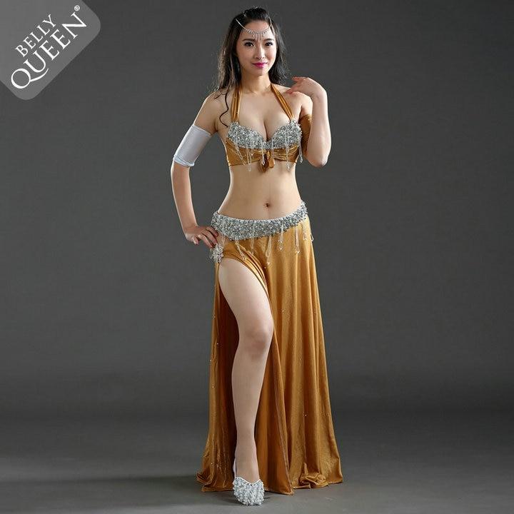 Girls Belly Dance Performance Bra Skirt Dress Oriental