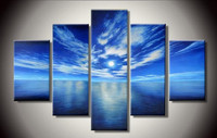 Hand Painted Abstract Seascape Oil Painting On Canvas Acrylic Blue Sky Ocean Paintings Home Decor Wall