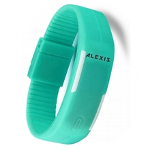 AAA Casual LED  Watches  Light Blue Watchcase  Silicone Light Blue Band Men Women Digital Watch DW447H  elegant blue hybrid touch screen led watch with 60 blue led lights high class design leather band support touchscreen