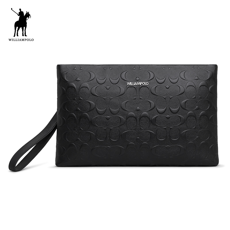WilliamPolo Leather Mens Handbag for Ipad Day Clutch Bag Male Fashion Long Wallet Card Holder With Wrist Strap PL020DWilliamPolo Leather Mens Handbag for Ipad Day Clutch Bag Male Fashion Long Wallet Card Holder With Wrist Strap PL020D