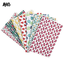 AHB Summer Fruits Printed Faux Leather Sheets For DIY Kids Hair Accessories Theme Party Decor Synthetic Leather Fabric Materials цена и фото