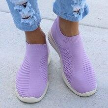 Большие размеры 43; женские кроссовки; эластичные тканевые носки; женская модная обувь из вулканизированной ткани; слипоны; Tenis Feminino; женская повседневная обувь