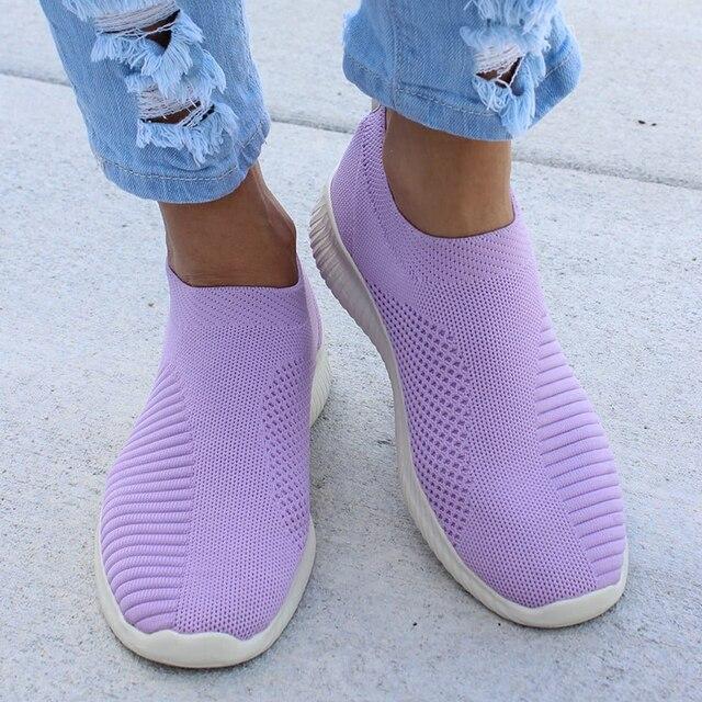 Женские кроссовки больших размеров 43; тканевые носки из эластичного материала; женская модная обувь из вулканизированной кожи; слипоны; tenis ...