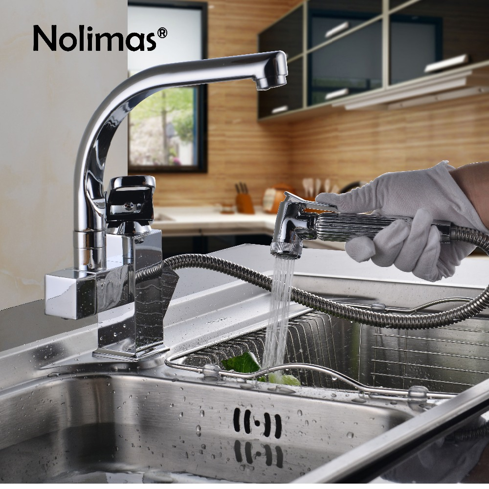 Dual Spout Pull Out Kitchen Faucet Mixer Luxury Single Hole Chrome Polished Finish Deck Mounted Sprayer Kitchen Taps luxury pull out chrome brushed nickel finish kitchen faucet mixer single hole deck mounted