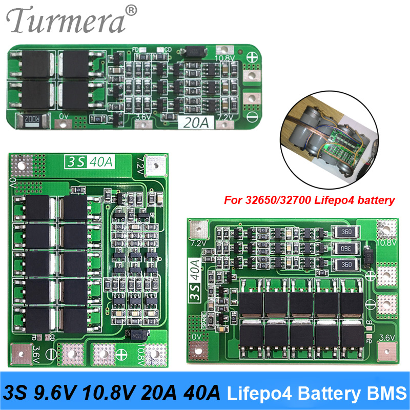 3S 40A 20A 9.6V 10.8V 32650 32700 LiFePO4 BMS Lithium Iron Battery Protection Board With Equalization Start Drill