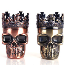 Creative Skull 3 layer Cigarette Tobacco Pipe tools Accessories Spice Weed Herb Grinder Smoke Crusher Muller Mill Smoking Bong