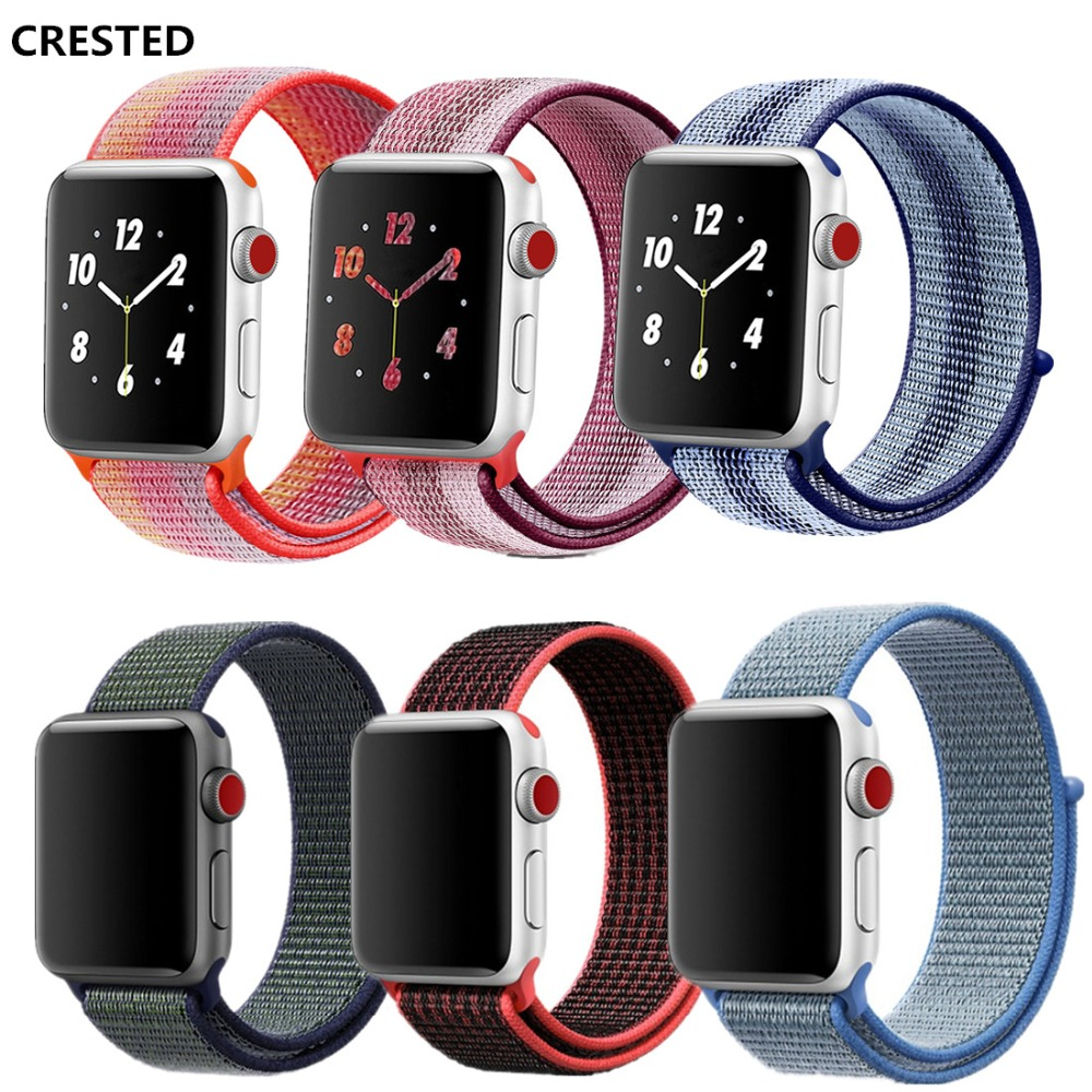 CRESTED Sport Loop For Apple Watch band strap 42mm 38mm Woven Nylon iwatch 3/2/1 wrist bands bracelet Lightweight belt correa цена