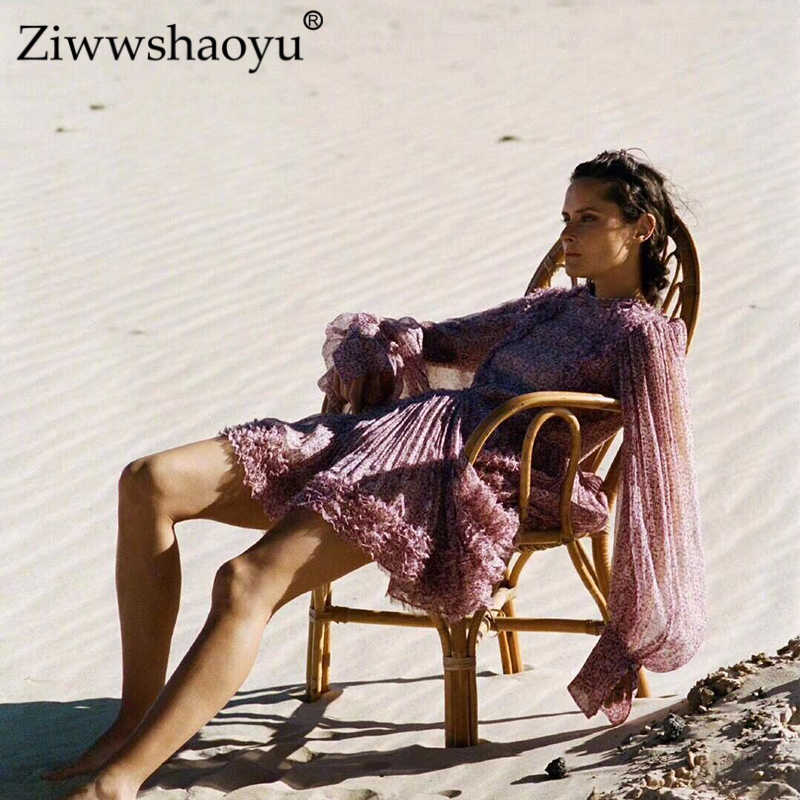 Ziwwshaoyu Для женщин Летняя новинка; платье 2019 сексуальный о вырез платье в богемном стиле с цветочным рисунком шелк пляж рюшами с мини платье в