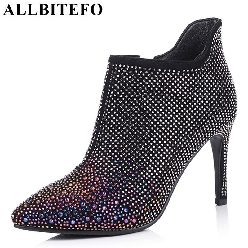 ALLBITEFO natural genuine leather sheepskin ankle women boots full rhinestone design fashion sexy martin boots heel height 9.5cm