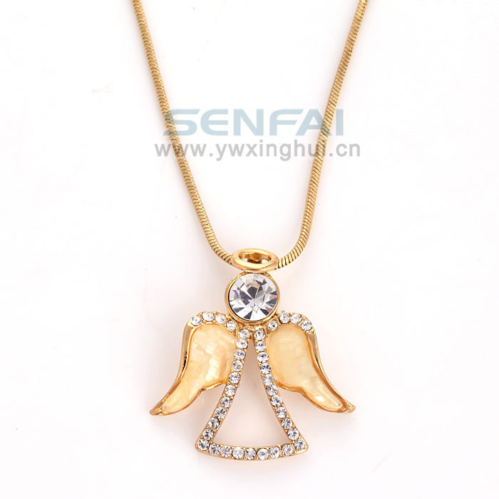 Fashion angel pendant necklace gold tone sweet and simple crystal fashion angel pendant necklace gold tone sweet and simple crystal bridesmaids gift ideaangel jewelrycolares charm necklace in pendant necklaces from aloadofball Choice Image