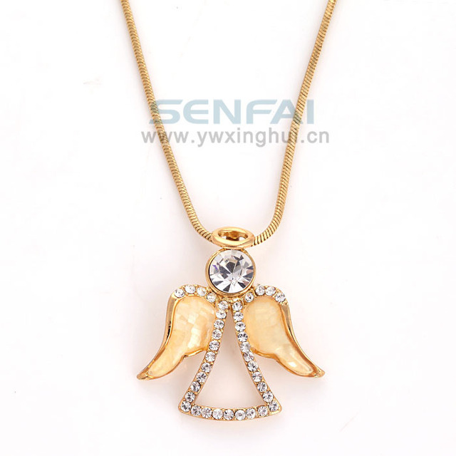 Fashion angel pendant necklace gold tone sweet and simple crystal fashion angel pendant necklace gold tone sweet and simple crystal bridesmaids gift ideaangel jewelry aloadofball Image collections