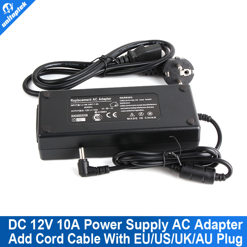 EU/US/AU/UK Plug DC 12V 10A 120W Output Led Strip AC Power Adapter Power Supply Switching Charger For LCD Monitor or CCTV Camera eu us 12v 2a power supply ac 100 240v to dc adapter plug waerproof for cctv camera ip camera surveillance accessories