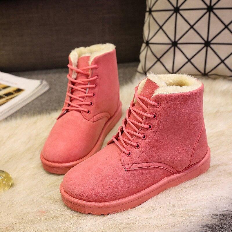 Nieve Botas Mujeres Zapatos pink Khaki black Imitación Alta Caliente gray Tobillo Plantilla De Mujer Peluche Clásico Invierno Calidad Las Gamuza EZ8aqI