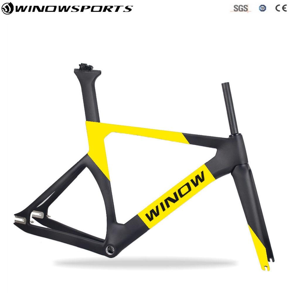 2018 New Aero Carbon Track Bike Bicycles Frame+fork+seatpost+clamp Bicycle Aero Track Frameset Glossy/matt carbon matt road bike frameset for bsa 54cm frame fork seatpost clamp
