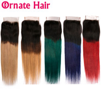 Ombre Colored Human Hair Lace Closure Brazilian Straight Remy Hair 4x4 Closure Two Tone Ombre Dark Roots Blue Green Red Blonde