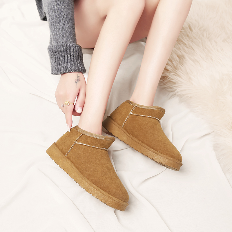 a3e9609db83e1f Cuir Boots En Snow D'hiver brown Chaussures Brun gray Boots Black Boots  Slip Cheville Pour Chaud Pu Bottes Femmes Neige De Boot Fourrure Daim ...