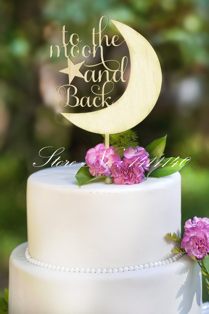 Wood To The Moon And Back Cake Topper Rustic Wedding Cake Toppers