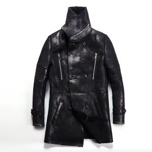 Image 2 - Chaqueta de piel de oveja auténtica Popular para hombre, chaqueta de piel de oveja genuina para hombre, prendas de vestir cálidas para invierno, abrigo de piel negro para hombre, talla grande 4XL
