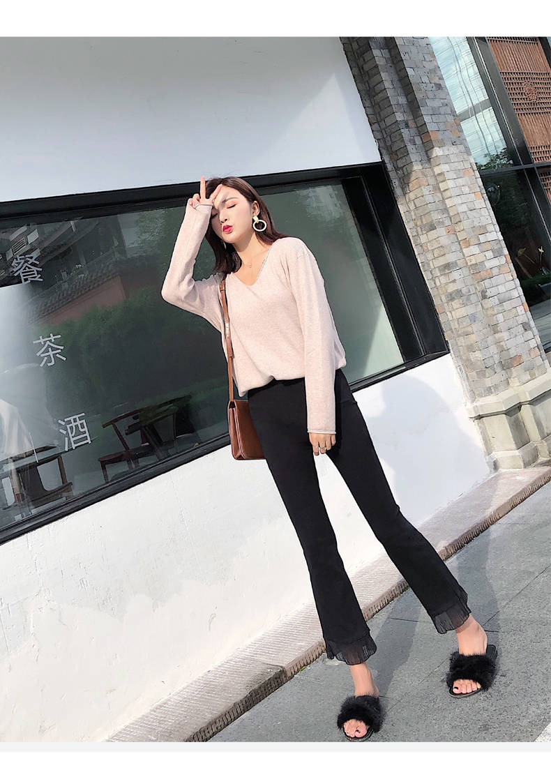 2019 Trousers Women High Waist Bell Bottom Metal Ring Flare Pants Wide Leg Pants Big Plus Size XL Black White Female Capris PP05 42