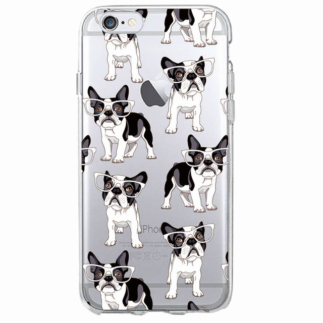 Cute Puppy Pugs Printed Transparent Soft Phone Case
