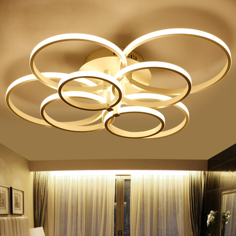 US $126.0 25% OFF|Moderne Led deckenleuchte LED Ring Lustre Licht Flush  Montiert LED Kreise Lampe Für Wohnzimmer Innen Beleuchtung Hause decor-in  ...