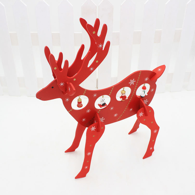 30x36cm christmas decorations diy red reindeer wooden deer furnishing articles festival home party table ornament prop - Wooden Deer Christmas Decorations