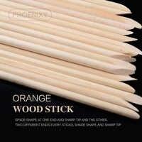 100Pcs Nail Art Orange Wood Stick for Nail Art Cuticle Pusher Remover Pedicure Manicure Tool Pretty