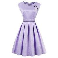 Kinikiss Summer 1950s Vintage Dresses Women Light Purple Ball Elegant Pleated Dress O Neck Buttons Retro
