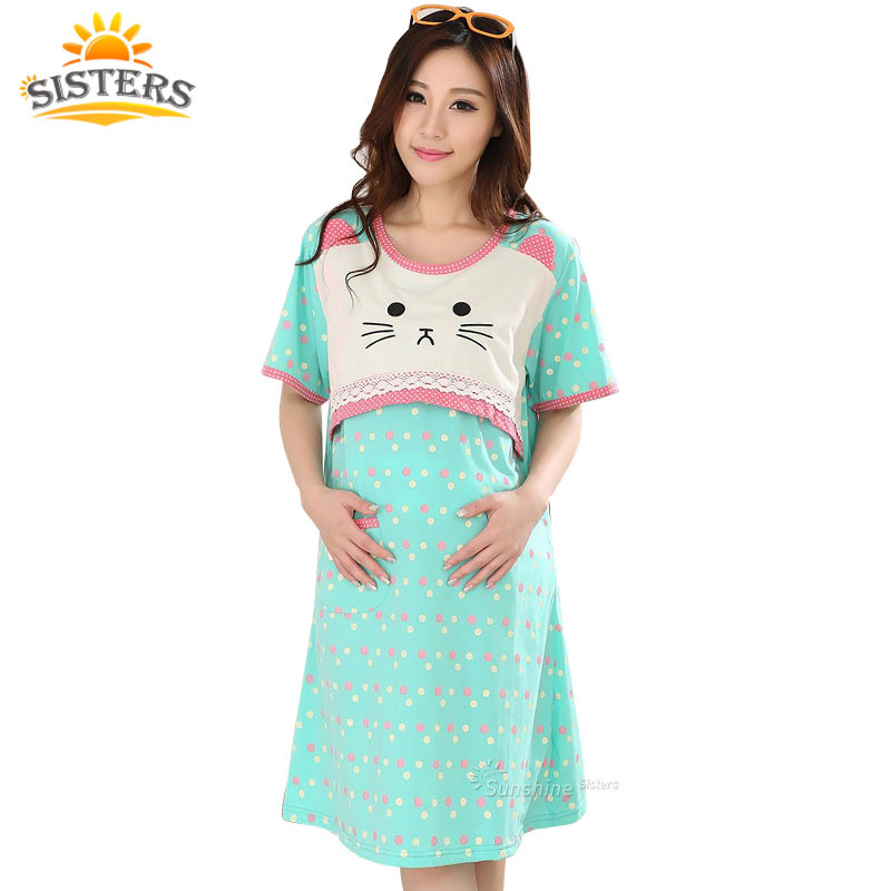 Polka Dot Cat Summer Pure Cotton Women Maternity Wear Clothing For Feeding Pajama Nursing Clothes Comfort Pregnant Nightgown