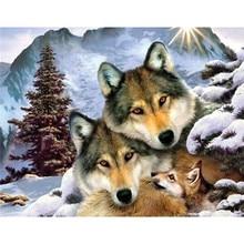 Heiße Verkäufe 5D Diamant Malerei 100% vollständig aus quadrat bohrer dekoration Kreuzstich Mosaik Stickerei hand Garn wolf familie