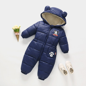 Image 1 - Russian autumn winter newborn baby clothes jumpsuit warm boys snowsuit for children hooded overalls for girls unisex baby romper