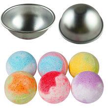 6 pçs mini bomba de banho sal bola molde liga alumínio diy spa ferramenta acessórios 3d esfera forma artesanato presentes semicírculo molde