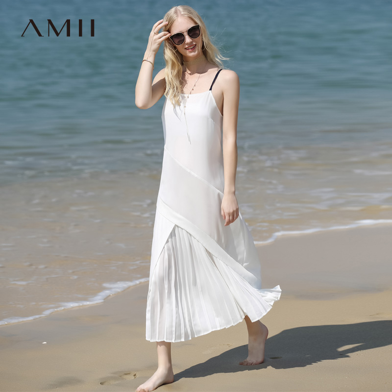 Amii Minimalist Women Holiday Dress Summer 2018 Causal Solid Strapless Dress Pleased Loose Beach Chiffon Long
