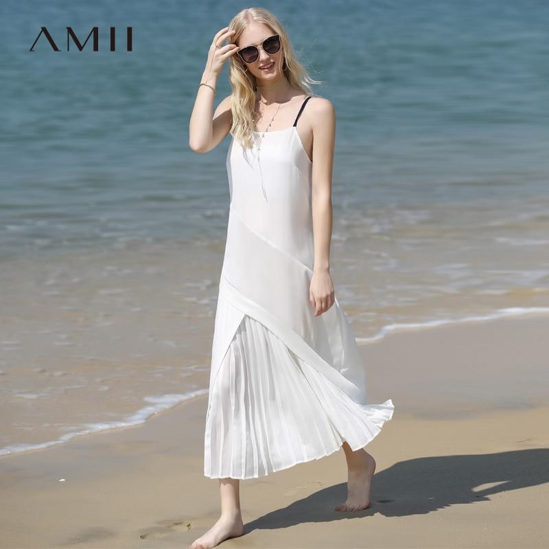 Amii Minimalist Women Holiday Dress Summer 2018 Causal Solid Strapless Dress Pleased Loose Beach Chiffon Long